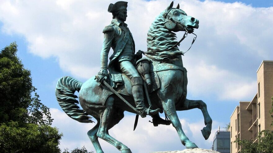 The equestrian sculpture of George Washington at the center of Washington Circle, on the boundary of the Foggy Bottom and West End neighborhoods in Washington, D.C., June 17, 2010. Credit: Wikimedia Commons.