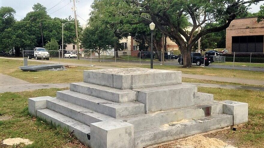 A statue of Jefferson Davis in New Orleans and its pedestal were removed on May 11, 2017 (it was unveiled on Feb. 22, 1911). The next day, only the foundation remained. In the spring of 2020, the Black Lives Matter movement is urging the removal of Confederate statues, the changing of army-base names and more throughout America. Credit: Bart Everson via Wikimedia Commons.
