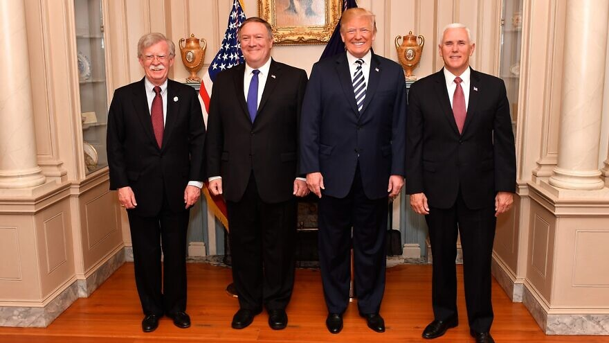 From left: U.S. National Security Advisor John Bolton, Secretary of State Mike Pompeo, U.S. President Donald Trump and Vice President Mike Pence at the U.S. Department of State in Washington, D.C., on May 2, 2018. Credit: State Department Photo, Public Domain.