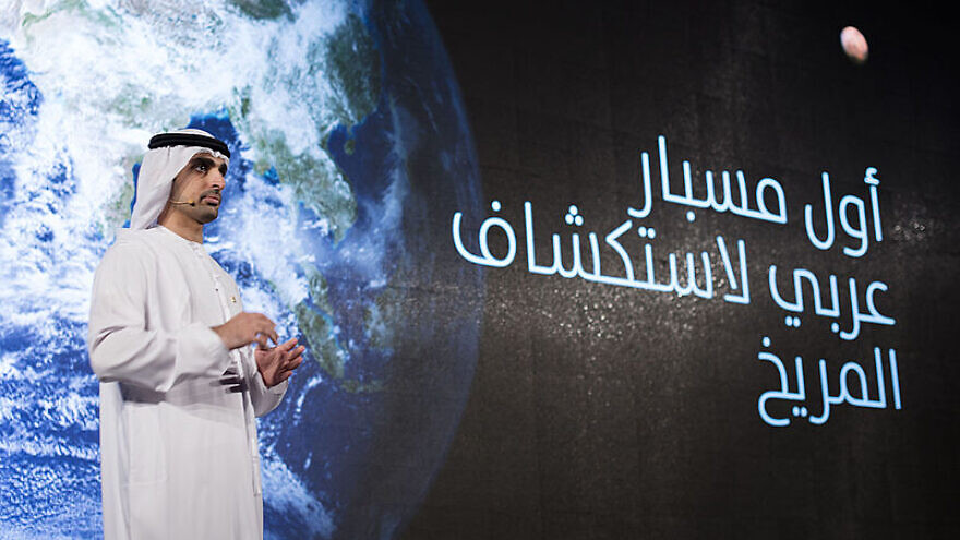 Omran Sharaf, Project Manager of the United Arab Emirates' first mission to mars (Hope), at the mission's announcement event at Al Bahr Palace in Dubai, UAE, on May 6, 2015. Photo by Abraham Que via Wikimedia Commons.
