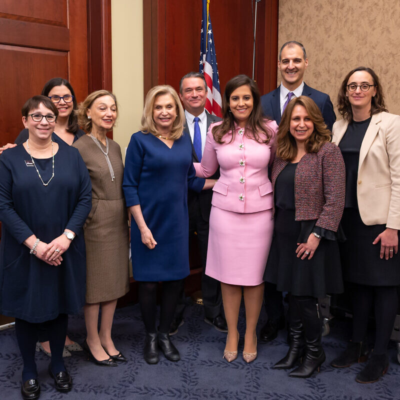 Rep. Carolyn Maloney (D-N.Y.) (left center) next to Rep. Elise Sefanik (R-N.Y.) (right center) along with officials from organizations, including Hadassah and the U.S. Holocaust Memorial Museum, following the passage of the Never Again Holocaust Act by the U.S. House of Representatives. Credit: Phi Nguyen, Official House of Representatives Photographer.