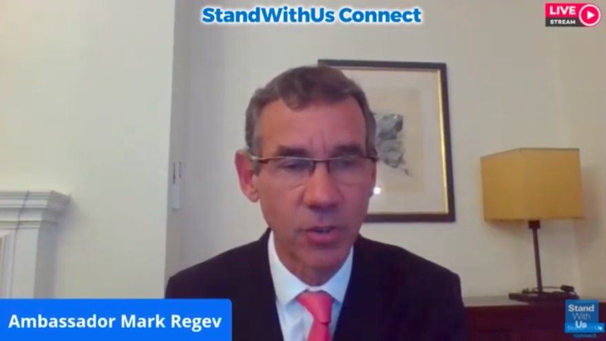 Ambassador of Israel to the United Kingdom Mark Regev speaking during a webinar organized by StandWithUs on June 18, 2020. Source: Screenshot.