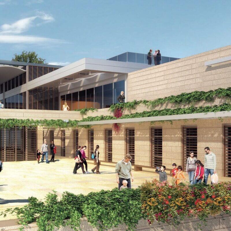 An artist's rendering of the planned Nefesh B'Nefesh Aliyah Center in Jerusalem. Credit: Thomas M. Leitersdorf Planning & Architecture LTD.