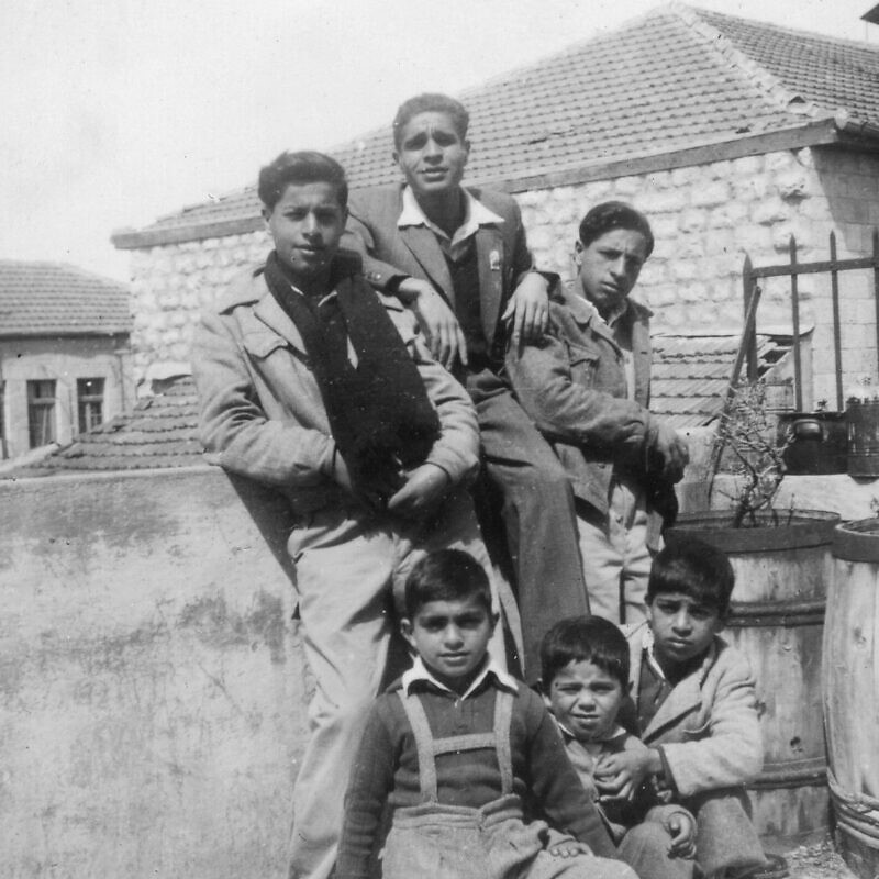 Banai family on the rooftop of 13 Agas St., Jerusalem, 1949. Credit: Yad Izhak Ben-Zvi Photographic Archives.
