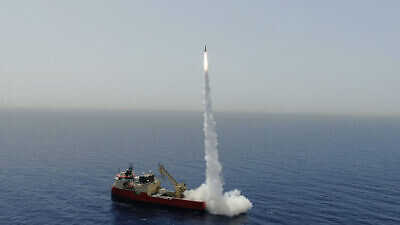 The LORA ballistic-missile firing trial on June 2, 2020. Credit: Israel Aerospace Industries.