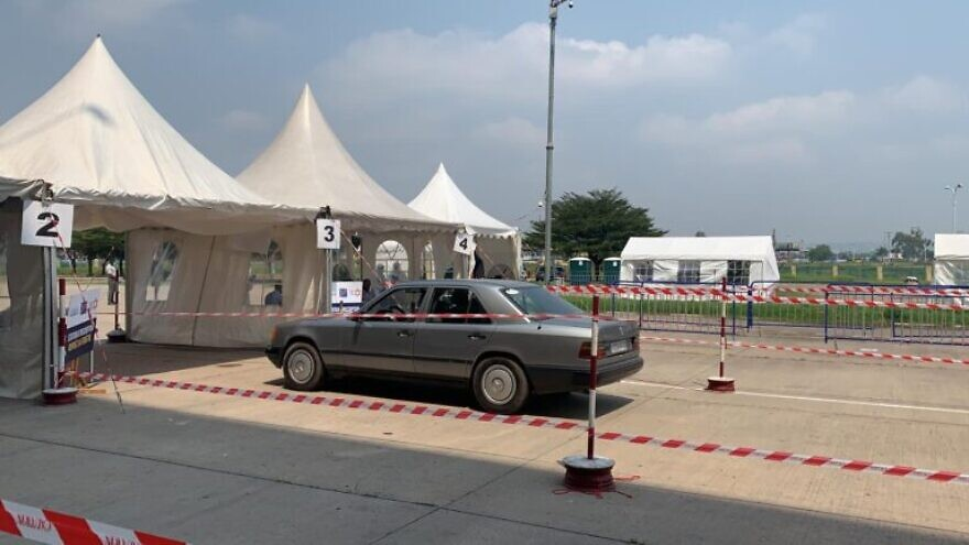 Israel's Magen David Adom helped the Congo set up a COVID-19 drive-through testing center, complete with software and training, May 2020. Credit: Courtesy