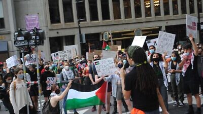 Protesters in Boston in the wake of the Black Lives Matter protests following the May 25 killing of George Floyd by a Minneapolis police officer advocate for the anti-Israel BDS movement on July 1, 2020. Courtesy: CAMERA.