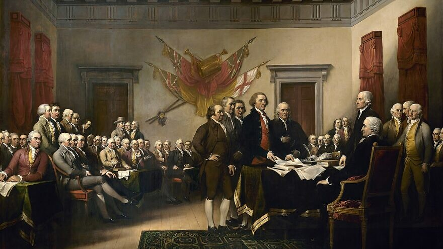 """John Trumbull's """"Declaration of Independence,"""" showing the Committee of Five presenting its draft for approval by Second Continental Congress on June 28, 1776. Credit: Wikimedia Commons."""