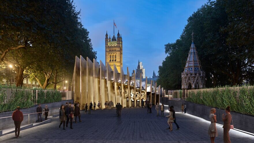 An artist's rendering on the proposed Holocaust museum in London's Victoria Tower Gardens. Credit: Adjaye Associates & Ron Arad Architects.