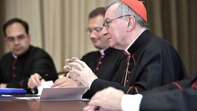 Vatican Secretary of State Pietro Parolin speaks during a meeting with Russian President Vladimir Putin in Sochi, Russia, on Aug. 30, 2017. Credit: Kremlin via Wikimedia Commons.