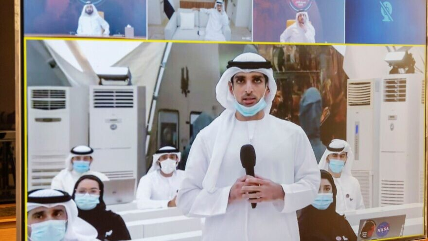 """Dubai ground crew communicating with the UAE """"Hope"""" probe after its successful launch to Mars on July 19, 2020. Source: Twitter/Sheikh Mohammed bin Rashid Al Maktoum."""