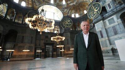 Turkish President Recep Tayyip Erdoğan inside the Hagia Sophia. Source: Twitter.