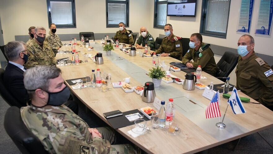 U.S. Joint Chiefs of Staff Gen. Mark Milley meets with senior Israeli defense officials at an air-force base in southern Israel on July 24, 2020. Source: IDF via Twitter.