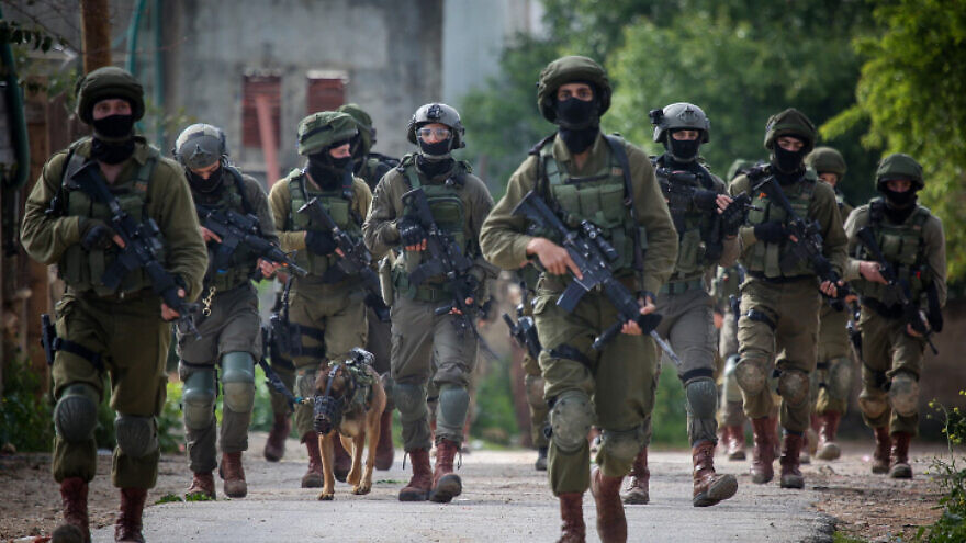 Israeli soldiers during a raid in the village of Bruqin near the West Bank town of Salfit on March 17, 2019. Photo by Flash90.