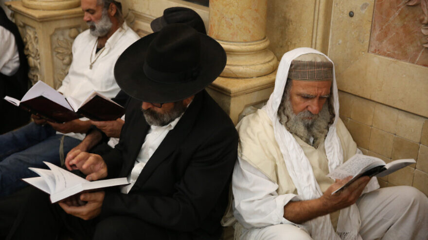 Jews pray at Meron on the eve of Tisha B'Av, on Aug. 10, 2019. Photo by David Cohen/Flash90.