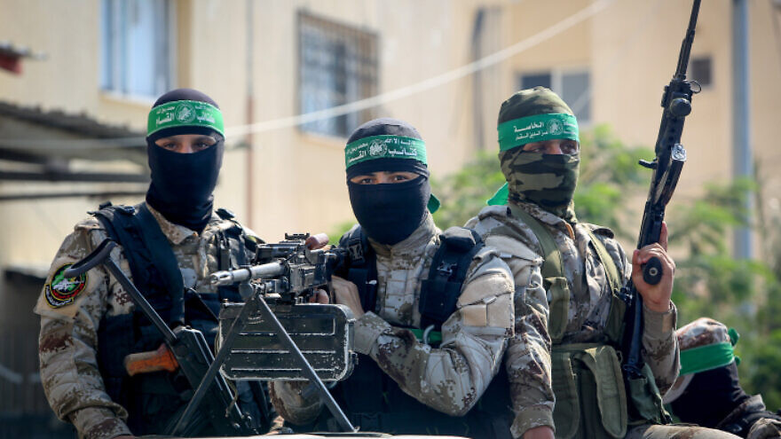 """Palestinian fighters from Izz ad-Din al-Qassam Brigades attend a reception for """"Abdel Halim Badawi,"""" who served 18 years in Israeli prison, in Rafah in the southern Gaza Strip, on Oct. 17, 2019. Photo by Abed Rahim Khatib/Flash90."""