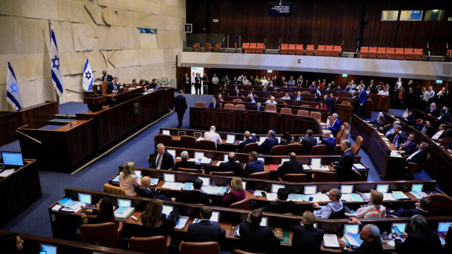Israeli Knesset members vote on a bill to dissolve the parliament at the Knesset in Jerusalem on Dec. 11, 2019. Photo by Olivier Fitoussi/Flash90.