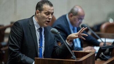 Likud Parliament member Miki Zohar speaks during a Knesset plenary session on Feb. 17, 2020. Photo by Yonatan Sindel/Flash90.