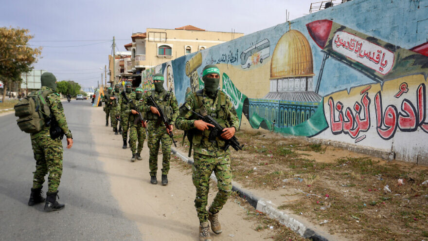 Members of Izz ad-Din al-Qassam Brigades, the armed wing of Hamas, during a patrol in Rafah in the southern Gaza Strip on April 27, 2020. Photo by Abed Rahim Khatib/Flash90.
