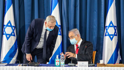 Israeli Prime Minister Benjamin Netanyahu and Defense Minister Benny Gantz lead the weekly cabinet meeting, at the Foreign Ministry in Jerusalem on June 7, 2020. Photo by Marc Israel Sellem/POOL.