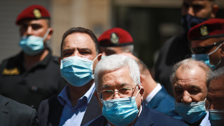 Palestinian Authority leader Mahmoud Abbas during a tour in the West Bank city of Ramallah on May 15, 2020. Photo by Flash90.
