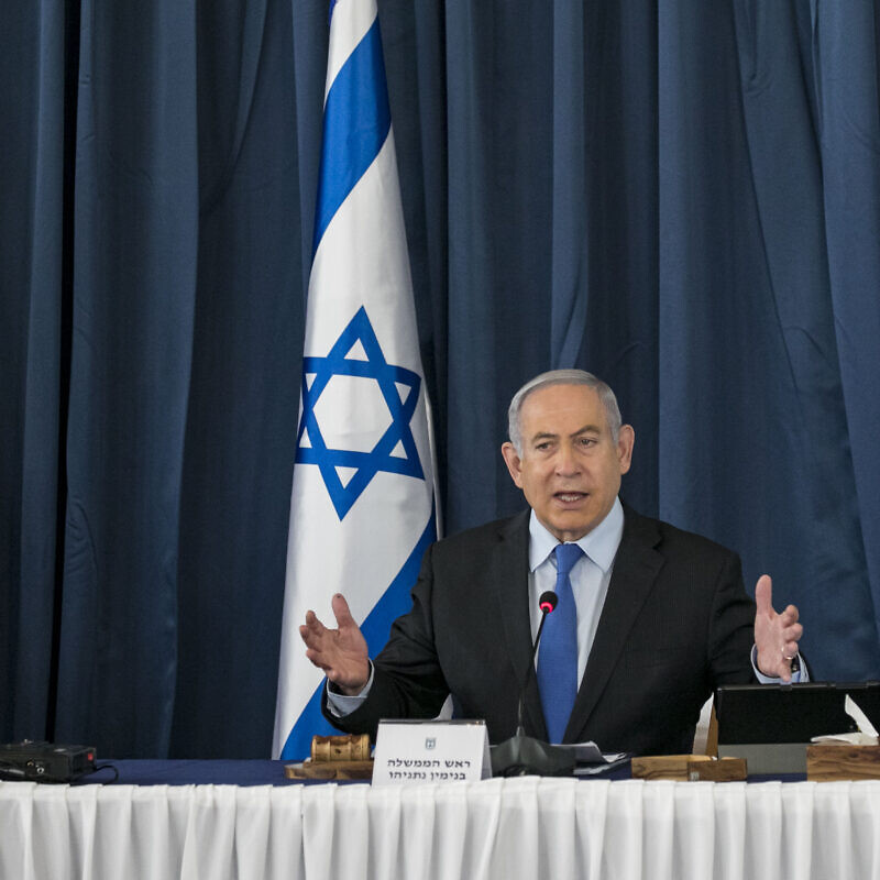 Israeli Prime Minister Benjamin Netanyahu at the weekly cabinet meeting, at the Ministry of Foreign Affairs in Jerusalem on June 28, 2020. Photo by Olivier Fitoussi/Flash90