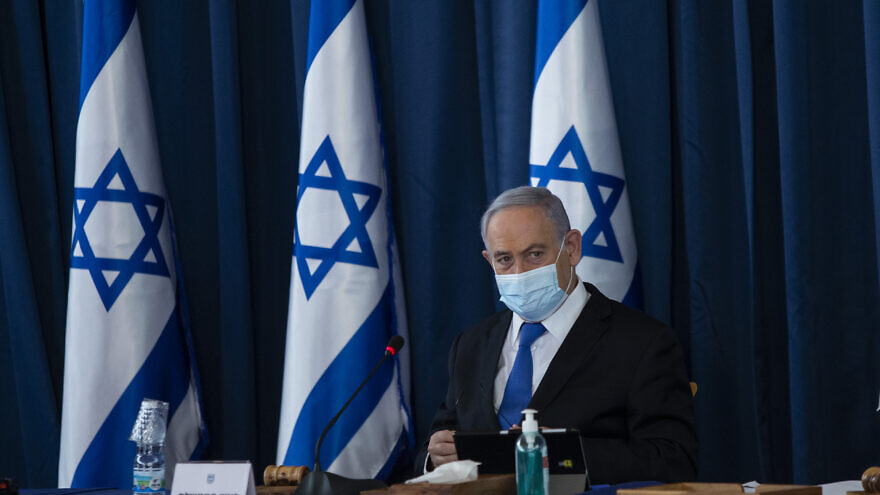 Israeli prime minister Benjamin Netanyahu at the weekly cabinet meeting, at the Ministry of Foreign Affairs in Jerusalem on July 5, 2020.  Photo by Amit Shabi/POOL