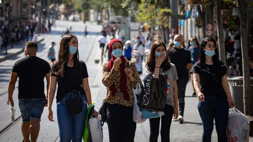 Israelis walk on Jaffa Road in Jerusalem's center on July 12, 2020. Photo by Olivier Fitoussi/Flash90.