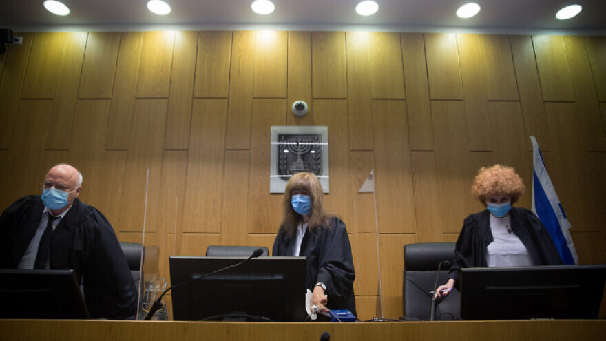 Tel Aviv District Court justices arrive in court on on July 14, 2020. Photo by Miriam Alster/Flash90.
