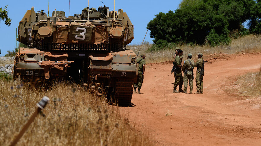 Israel Defense Forces have stationed soldiers and military equipment along the border with Lebanon following the IDF Spokesman's announcement of a state of alert in the north, July 23, 2020. Photo by Basel Awidat/Flash90.