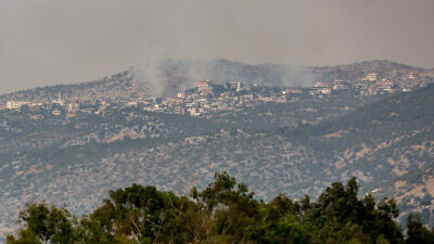 Smoke rises from the village of Kfar Chouba in Lebanon after a confrontation between Hezbollah terrorists and the Israel Defense Forces on July 27, 2020. Photo by David Cohen/Flash90.