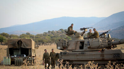Israeli army forces seen stationed near the border between Israel and Lebanon in the Golan Heights on July 27, 2020. Photo by David Cohen/Flash90