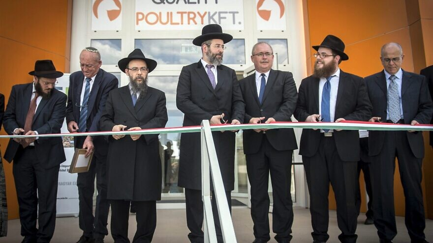 Members of the rabbinic team at the ribbon-cutting ceremony at Csengele kosher slaughterhouse opening in Hungary, July 2020. Chief Ashkenazi Rabbi David Lau is at center; Chabad Rabbi Shlomo Köves of Hungary is second from right. Photo by Zsolt Demecs.