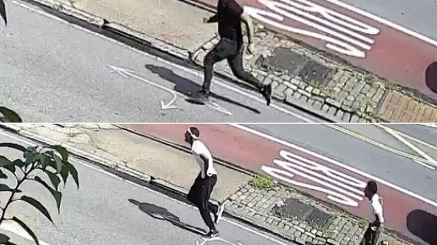 Surveillance footage released by the NYPD of three suspects involved in a physical altercation on July 11, 2020, with an Orthodox Jewish man in Brooklyn, N.Y. Source: NYPD.