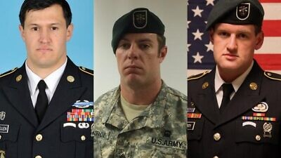 From left: King Faisal Air Base shooting victims Staff Sgt. Matthew Lewellen, Staff Sgt. Kevin McEnroe and Staff Sgt. James Moriarty. Credit: United States Army via Wikimedia Commons.