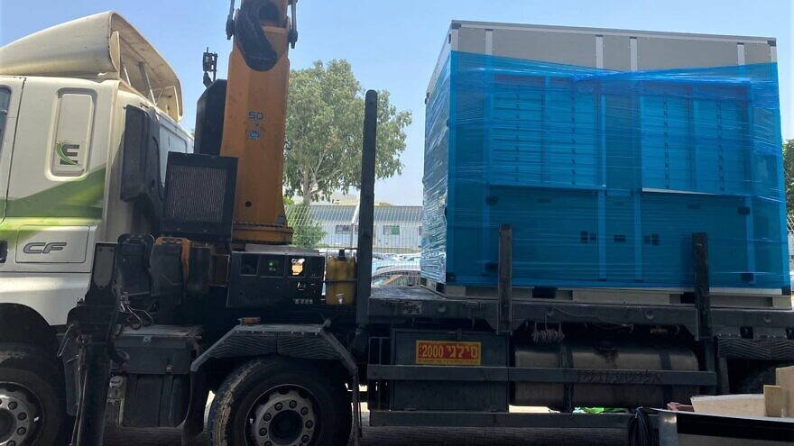 Israelis delivered a third water generator to the Gaza Strip on July 26, 2020. Credit: Watergen.