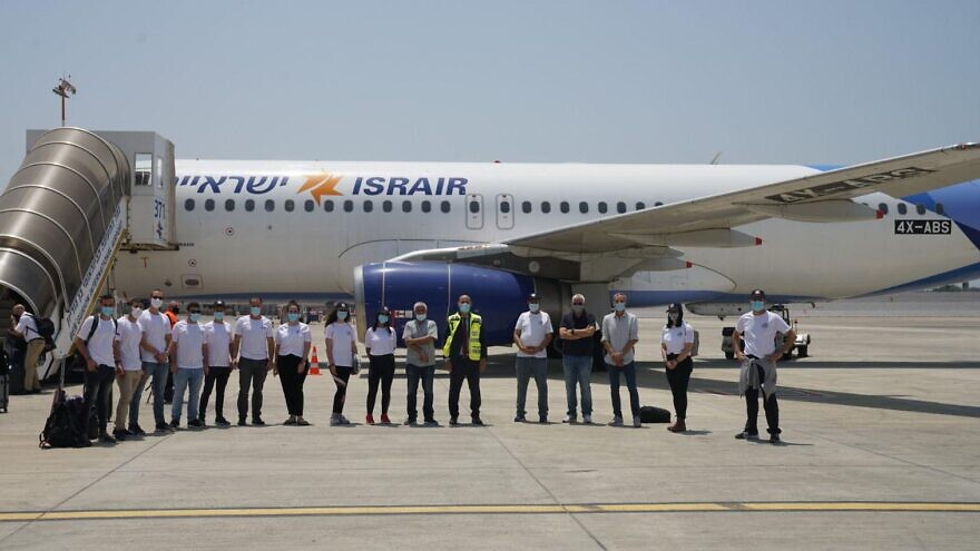 The Israeli delegation preparing to fly to India to develop breakthroughs in coronavirus testing. Credit: Defense Ministry.