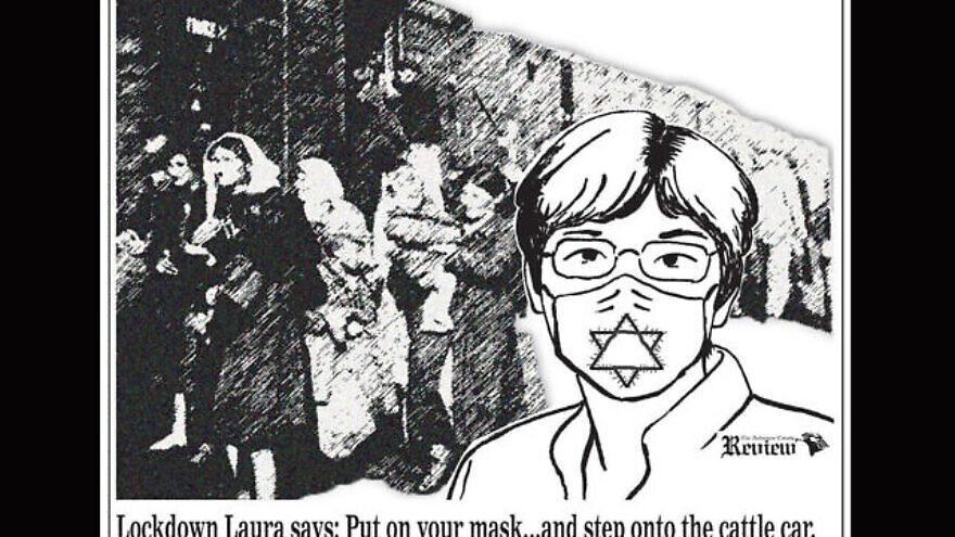 A political cartoon published by the Anderson County Review equated Kansas Gov. Laura Kelly's order requiring state residents to wear masks to help protect residents from the spread of the coronavirus with the Holocaust, July 3, 2020. Credit: The Anderson County Review/Facebook.