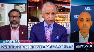 "ADL CEO Jonathan Greenblatt appearing on Al Sharpton's MSNBC show ""Politics Nation With Al Sharpton"" on June 28, 2020. Source: Screenshot."