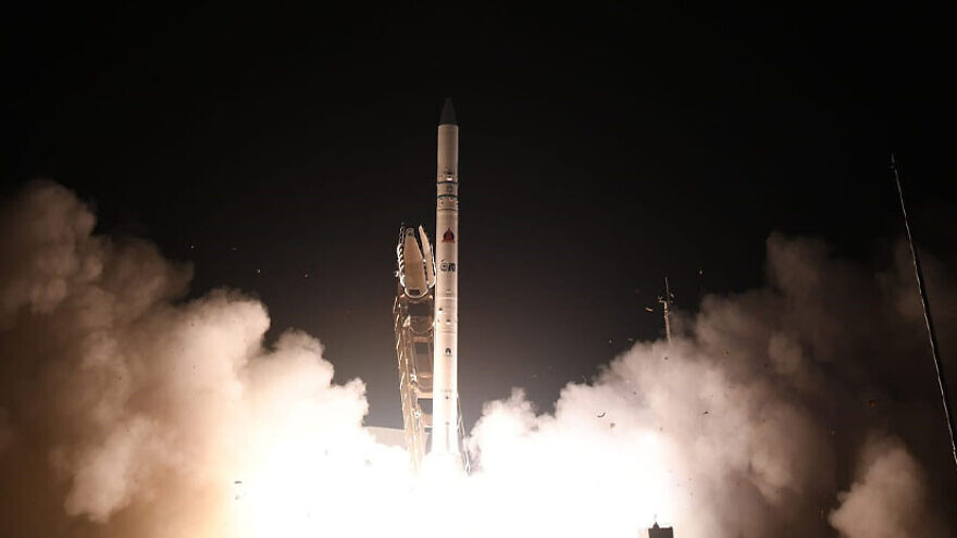 """Israel's """"Ofek 16"""" reconnaissance satellite is launched from a site in central Israel on July 6, 2020. Credit: Israel Aerospace Industries."""