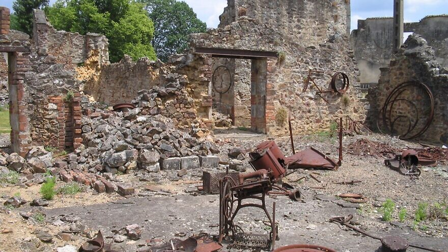 The French villageof  Oradour-sur-Glane on June 11, 2004, exactly 60 years after its destruction by the German army Credit: Dennis Nilsson/Wikipedia.