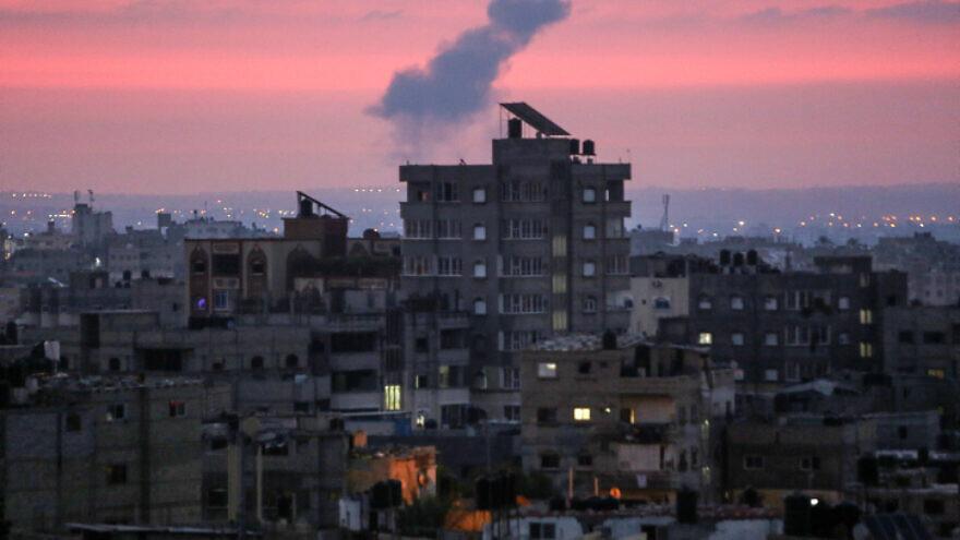Smoke rises during Israeli retaliatory airstrikes in Khan Yunis in the southern Gaza Strip on Aug. 21, 2020. Photo by Abed Rahim Khatib/Flash90.