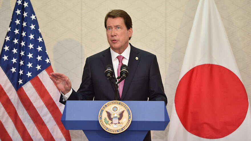 Bill Hagerty addresses reporters upon his arrival to Tokyo as U.S. ambassador to Japan, on Aug. 17, 2017. Credit: State Department Photo.
