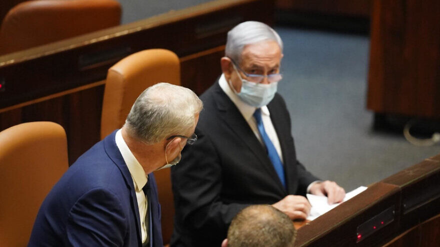 Israeli Prime Minister Benjamin Netanyahu and Alternate Prime Minister Benny Gantz vote for the budget deadline extension bill on Aug. 24, 2020. Credit: Knesset Spokesperson/Yehonatan Samiyeh.