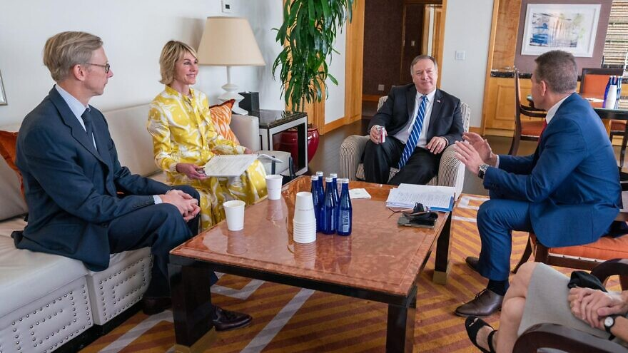 Israeli Ambassador to the United Nations Gilad Erdan (right) meets with U.S. Secretary of State Mike Pompeo, U.S. Ambassador to the United Nations Kelly Craft and U.S. Special Envoy for Iran Brian Hook on Aug. 21, 2020. Credit: Ronny Przysucha/Israeli Mission to the U.N.