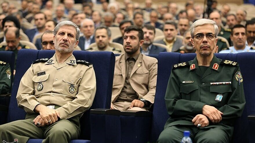 Iranian Defense Minister Gen. Amir Hatami (left) and Maj. Gen. Mohammad Bagheri, the chief of staff of Iran's armed forces, on Aug. 22, 2017. Photo: Tasnim News Agency via Wikimedia Commons.