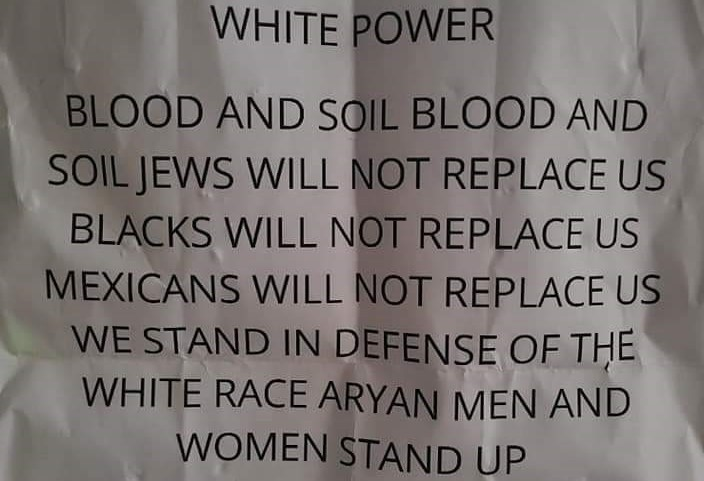 An anti-Semitic flier that was distributed in Kentucky, August 2020.
