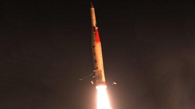 The Arrow 2 interceptor missile. Credit: Israeli Defense Ministry Spokesperson's Office.
