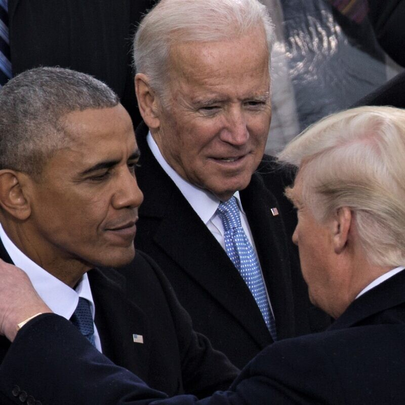 U.S. President Donald Trump shakes hands with the 44th President of the United States, Barack Obama, and then-outgoing Vice President Joe Biden, during the 58th Presidential Inauguration at the U.S. Capitol Building, Washington, D.C., Jan. 20, 2017. Credit: U.S. Marine Corps Lance corporal Cristian L. Ricardo via Wikimedia Commons.