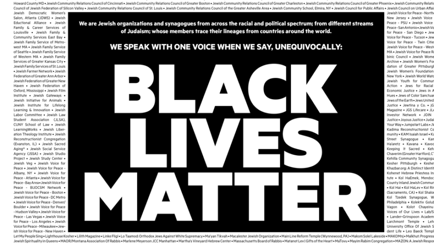 "More than 600 Jewish groups placed this ad in ""The New York Times"" in support of the Black Lives Matter movement. Credit: Medium."
